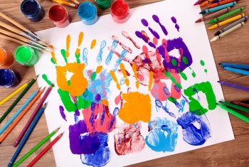 Handprints and art equipment